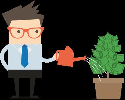 Businessman Clive watering a money plant