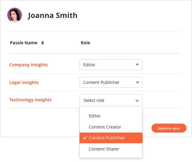 Managing users roles example