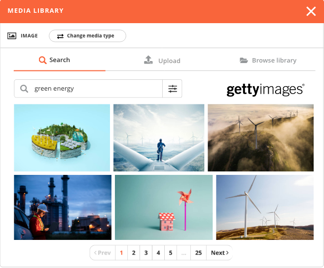 Screenshot of the Gettyimages library