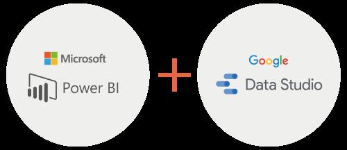 Microsoft Power BI and Google Data Studio logos